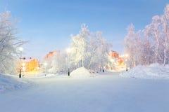 Winter landscape City Garden Stock Photos