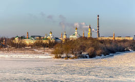 Winter landscape of the city of Kolomna, Moscow region in the winter cold snowy day. Panoramic view of the monastery. Royalty Free Stock Image
