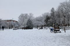 Winter landscape in city park. Winter landscape in the city park Royalty Free Stock Photo