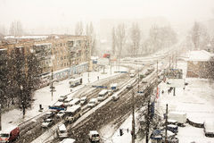 Winter landscape of city streets Stock Image