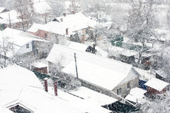 Winter landscape of city streets Royalty Free Stock Image