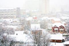 Winter landscape of city streets Stock Photo