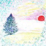 Winter landscape with colored pencils Royalty Free Stock Images