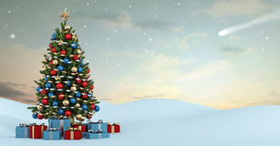 Winter landscape with colorful christmas tree. And gift at sunset- 3D Rendering Stock Photos