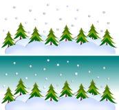 Winter landscape. Colorful graphic illustration over blue background Stock Image