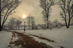 Winter landscape. a pedestrian road with trees and a street lamp near the river`s coast in a snow-covered city park in cloudy wea Royalty Free Stock Photos