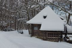 Winter Landscape with cottage royalty free stock photos