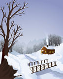 Winter landscape with cottage in the woods. A typical winter landscape with a cottage in the woods. Includes a footbridge and trees Royalty Free Stock Images