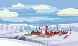 Winter landscape with country house and bullfinches. Cartoon style, vector, isolated. Winter landscape with country house and bullfinches Royalty Free Illustration