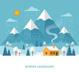 Winter landscape with house and mountains. vector illustration