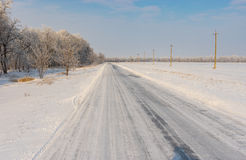 Winter landscape with country road covered by ice Stock Image
