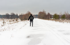 Winter landscape with country road Stock Photos