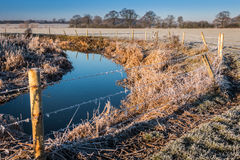 Winter landscape in the countryside. A frosty winter`s morning in the English countryside with the sun rising off the fields Stock Photo