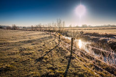 Winter landscape in the countryside. A frosty winter`s morning in the English countryside with the sun rising off the fields Royalty Free Stock Image
