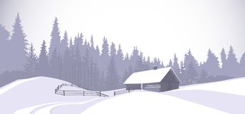 Winter Landscape Countryside Snowy House With Pine Tree Forest On Background Royalty Free Stock Photos