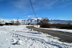 Winter Landscape covered with snow near a road royalty free stock photos