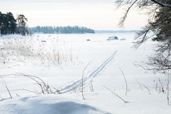 Skiing tracks in snow. Winter landscape with cross-country skiing tracks in snow on overcast day Royalty Free Stock Photography