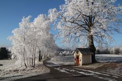 Winter landscape in Czech Republic. Snow royalty free stock photos