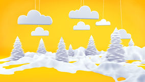 Winter Landscape 3D Scene Orange Stock Images