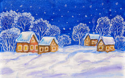 Winter landscape on dark blue sky. Christmas - New Year picture, winter landscape with houses and trees on dark blue sky, painting, watercolours, white acrylic Stock Image