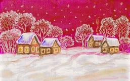 Winter landscape on dark blue sky Royalty Free Stock Photo