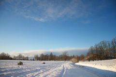 Winter landscape with dark clouds coming over sky Royalty Free Stock Photos