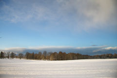 Winter landscape with dark clouds coming over sky Stock Photos