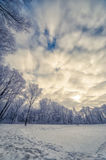 Winter landscape with deep Amazing Clouds on Deep Blue Sky. The winter landscape with deep Amazing Clouds on Deep Blue Sky Royalty Free Stock Photos