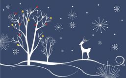 Winter landscape with deer Royalty Free Stock Images