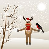 Winter landscape with deer and bird bullfinch Royalty Free Stock Photos