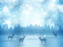 Winter landscape with deer Stock Image
