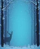 Winter landscape. With deer and rabbits.  illustration Stock Photography