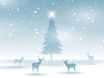 Winter landscape with deer Royalty Free Stock Image
