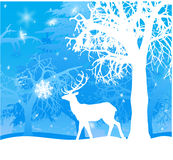 Winter landscape with deer Stock Images