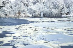 Winter landscape of the Dnepr river , covered with ice, snow and hoarfrost. Royalty Free Stock Image