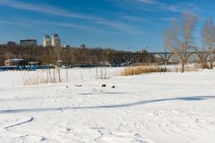 Winter landscape with Dnepr river in Dnepropetrovsk city. Ukraine stock images