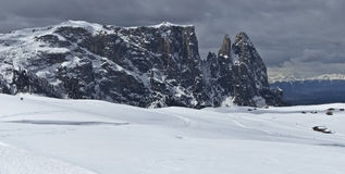 Winter landscape, Dolomites - Italy. Winter view of the Sciliar, Dolomites - Italy royalty free stock photography