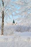 Winter landscape with dome of the temple Royalty Free Stock Images