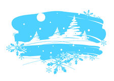 Winter landscape, drawing brush Royalty Free Stock Photo