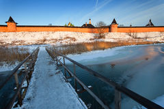 Winter landscape in the early frosty morning in Suzdal Royalty Free Stock Photography
