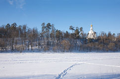 Winter landscape eith Russian church Royalty Free Stock Photography