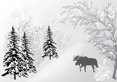 Winter landscape with elk Royalty Free Stock Images