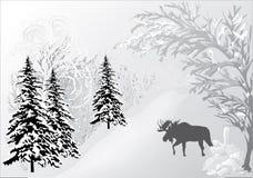 Winter landscape with elk royalty free illustration