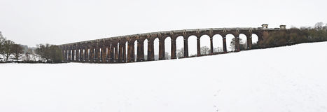 Winter landscape of English Victorian viaduct Royalty Free Stock Photography