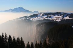 Winter landscape in the European Alps Stock Image