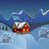 Winter landscape. Evening landscape with a house. The smoke from the chimney. Starry sky above the mountains. The house in the woods Royalty Free Stock Photography