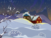 Winter landscape. Evening landscape with wooden houses. Village in the snow. The smoke from the chimneys. Starry sky Royalty Free Stock Photos