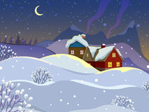 Winter landscape. Evening landscape with wooden houses. Village in the snow. The smoke from the chimneys. Starry sky, the month in the sky Stock Image