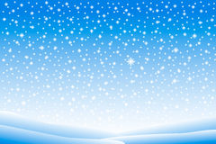 Winter landscape with falling snow. Llustration Stock Photo