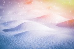 Winter landscape with falling snow on a sunny day.Toning.  royalty free stock images